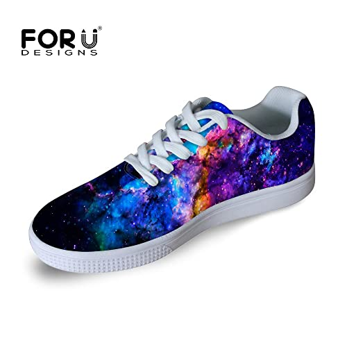 cee21603d5f6 FOR U DESIGNS Casual Men s Galaxy Print Low Top Comfortable Skateboard Shoes  Lace-up Sneaker