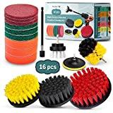 16 Piece Drill Brush Attachments Set, 5 Inch Scrub Pads & Sponge, Buddy Pro Power Scrubber Brush Kit with Extend Long Attachment All Purpose Clean for Grout, Carpet, Tile, Sink, Bathtub, Kitchen, Boat