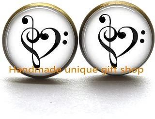 Dainty Stud Earrings, Delicate Earrings,Treble and Bass Clef Heart - Music Lover Gift - Music Lover Earrings-RC017