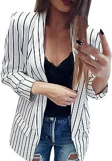 Women Ladies Long Sleeve Striped Printed Elegant Duster Blazer Jacket Coat