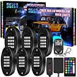 SUZCO 6-Pack Trucks LED RGB Neon Underglow Pod Rock Lights Kit, 【Dual-Zone】+【96LEDs】+【2-in-1 Line】 Sync Music Multicolor Under Lights Waterproof 12V with APP/RF/IR for Jeep Offroad ATV UTV SUV