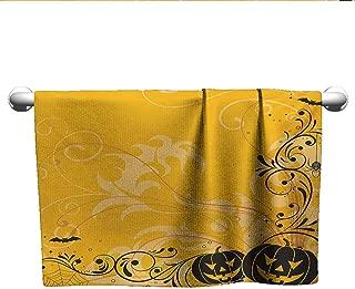 alisoso Halloween,Personalized Towels Carved Pumpkins with Floral Patterns Bats and Web Horror Jack o Lantern Artwork 3D Digital Printing Orange Black W 35