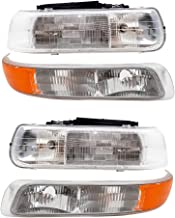 Aftermarket Replacement 4 Pc Set Headlights & Side Signal Marker Lamps Compatible with 2000-2006 Tahoe Suburban 1999-2002 ...