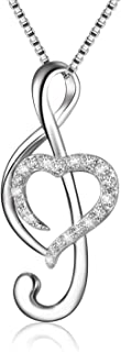 BLOVIN 925 Sterling Silver Music Note Love Heart Necklace Pendant, Box Chain 18