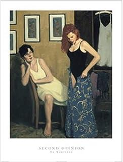 Buyartforless رأي الثاني من تصميم Ed Martinez 24 × 32 ملصق فني مطبوع تجريدي للنساء اللاتي يحاون على فساتين أصفر أزرق