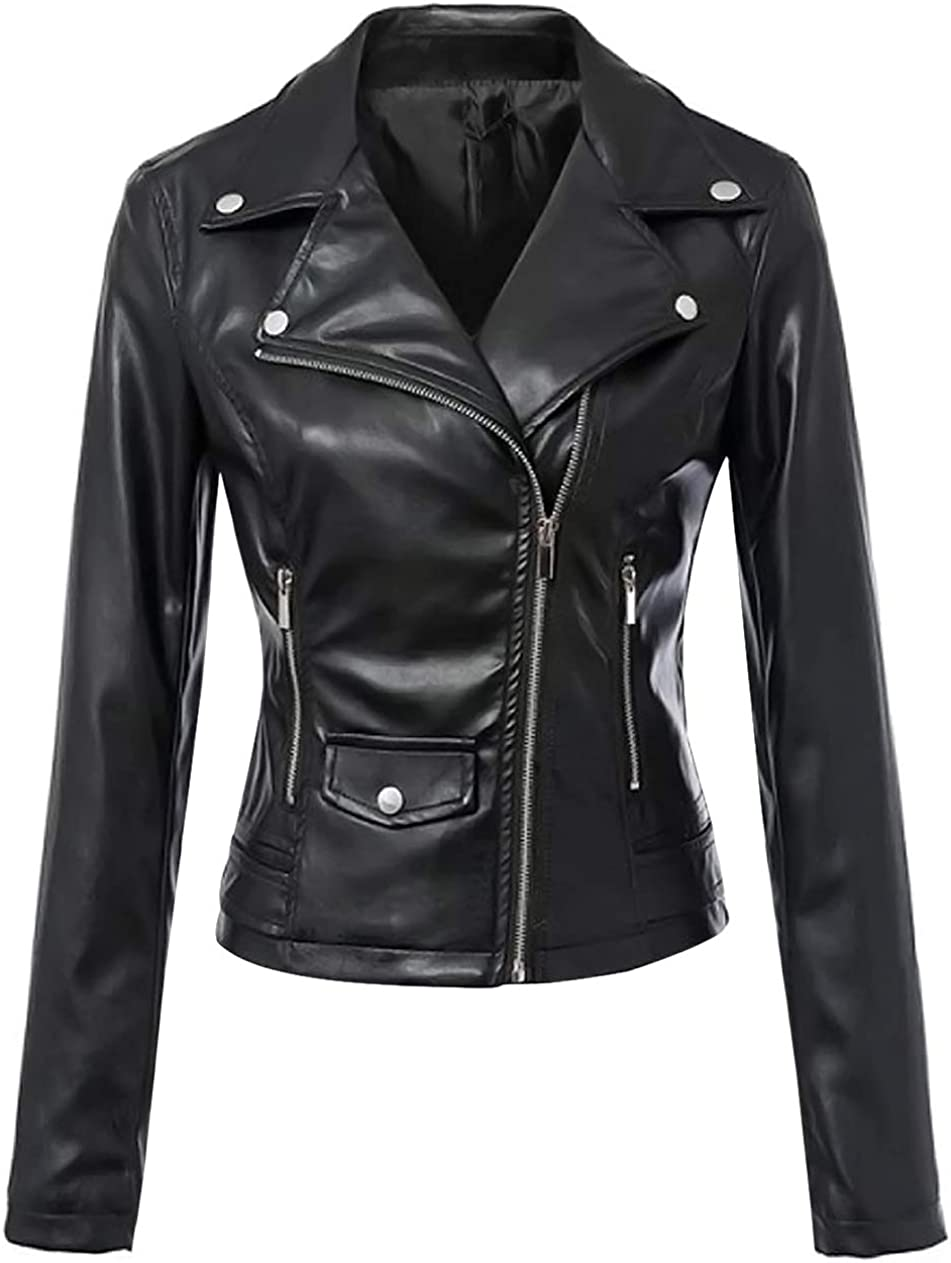 Uaneo Women's Faux PU Leather Motorcycle Short Jackets Black (Large, Black)