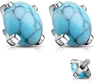 14g Surgical Steel 5mm Synthetic Stone Dermal Top for Internally Threaded Anchor