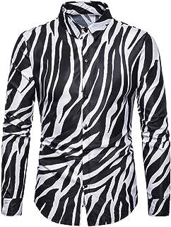 LZXMXR Camisas de los Hombres de Moda, Discotecas, Zebra Prints, Delgado Mangas largas, Equipo Slim Traje Camisas