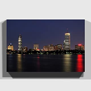 "Arty Pie""Massachusetts Boston Skyline USA 2"" Print Canvas, Multi-Colour, 20 x 14-Inch"