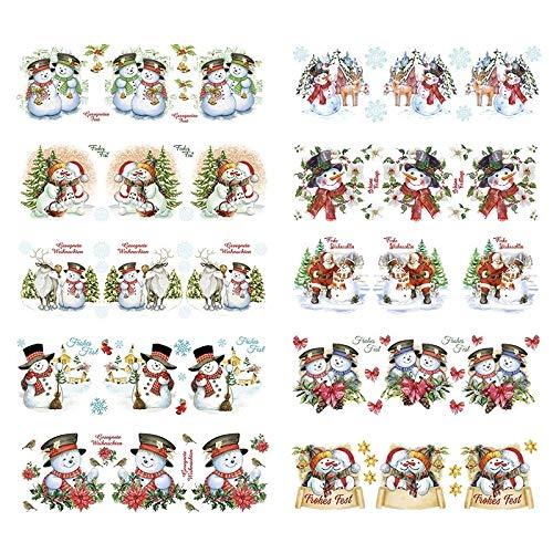 Transparent-Sticker, 10 Bogen à 10cm x 30cm | Bunte Aufkleber zum Basteln & Dekorieren (Schneemänner)