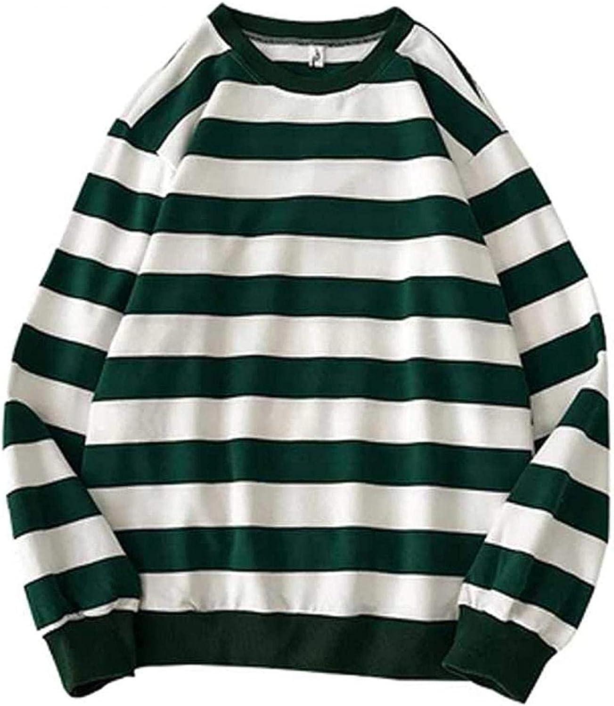 Unisex Crewneck Stripe Sweatshirts Long Sleeve Fall Shirts for Mens Womens