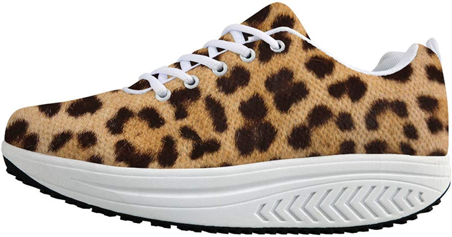 FOR U DESIGNS Classic Women Wedges Platform shoes Cool Fur Printed Girls Sports Walking Swing Sneakers