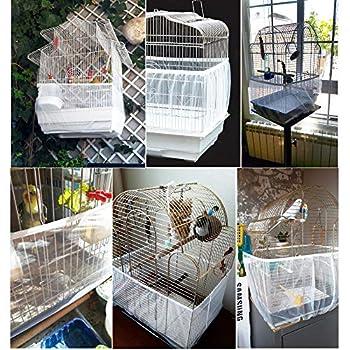 MEJOSER 2PCS Housse pour Cage Oiseaux Couverture Protection Cage Oiseaux Mesh Pliable Flexible Contraction pour Perroquet (Blanc-M)
