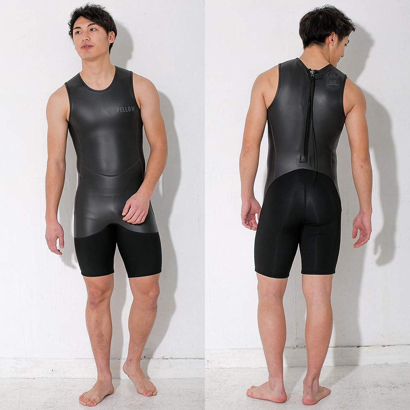 排泄物ために踊り子ウェットスーツ メンズ ショートジョン 2mm FELLOW 男性用 スキン クラシック ラバー バックジップ ウェットスーツ サーフィン ウエットスーツ 日本規格