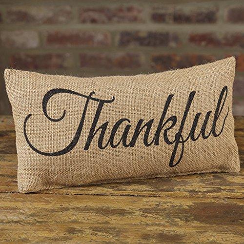 Thankful Black Cursive 6 x 12 Burlap Decorative Throw Pillow