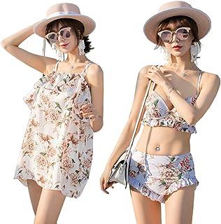 Fout 水着 レディース ビキニ タンキニ 2WAY着られる オフショルダー風 女性用 大人 体型カバー フレア かわいい 3点セット(ワンピース+ブラ+ショートパンツ)