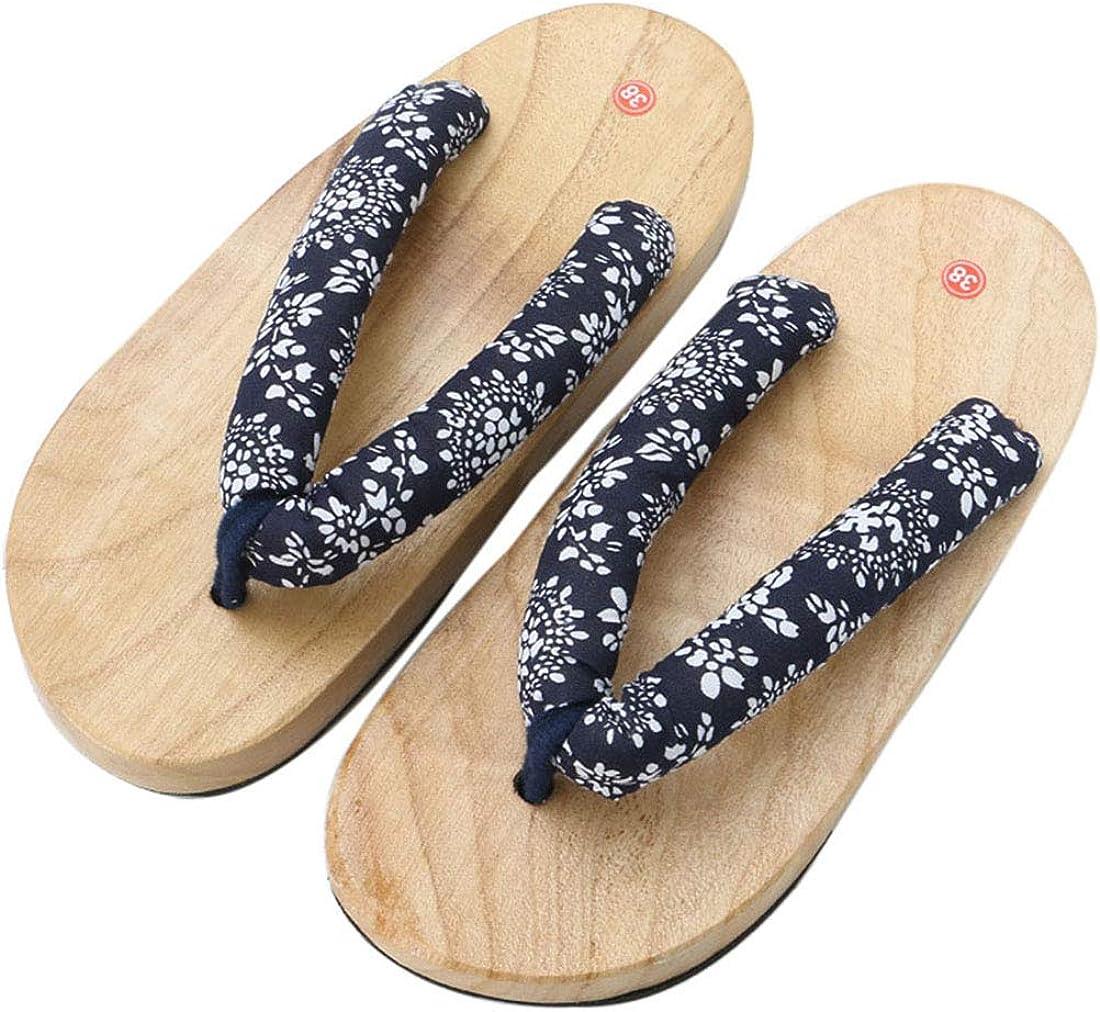 Pinji Geta Homme Femme Floral Pantoufle Tong Bois Geta Japonaise Sabots Cosplay Pantoufles /à Fond /Épais Sandales
