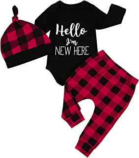 Newborn Baby Boys Girls Clothes Hello I'm New HERE Letter Print Long Sleeve Romper+Red Plaid Pants + Hat 3pcs Outfit Set