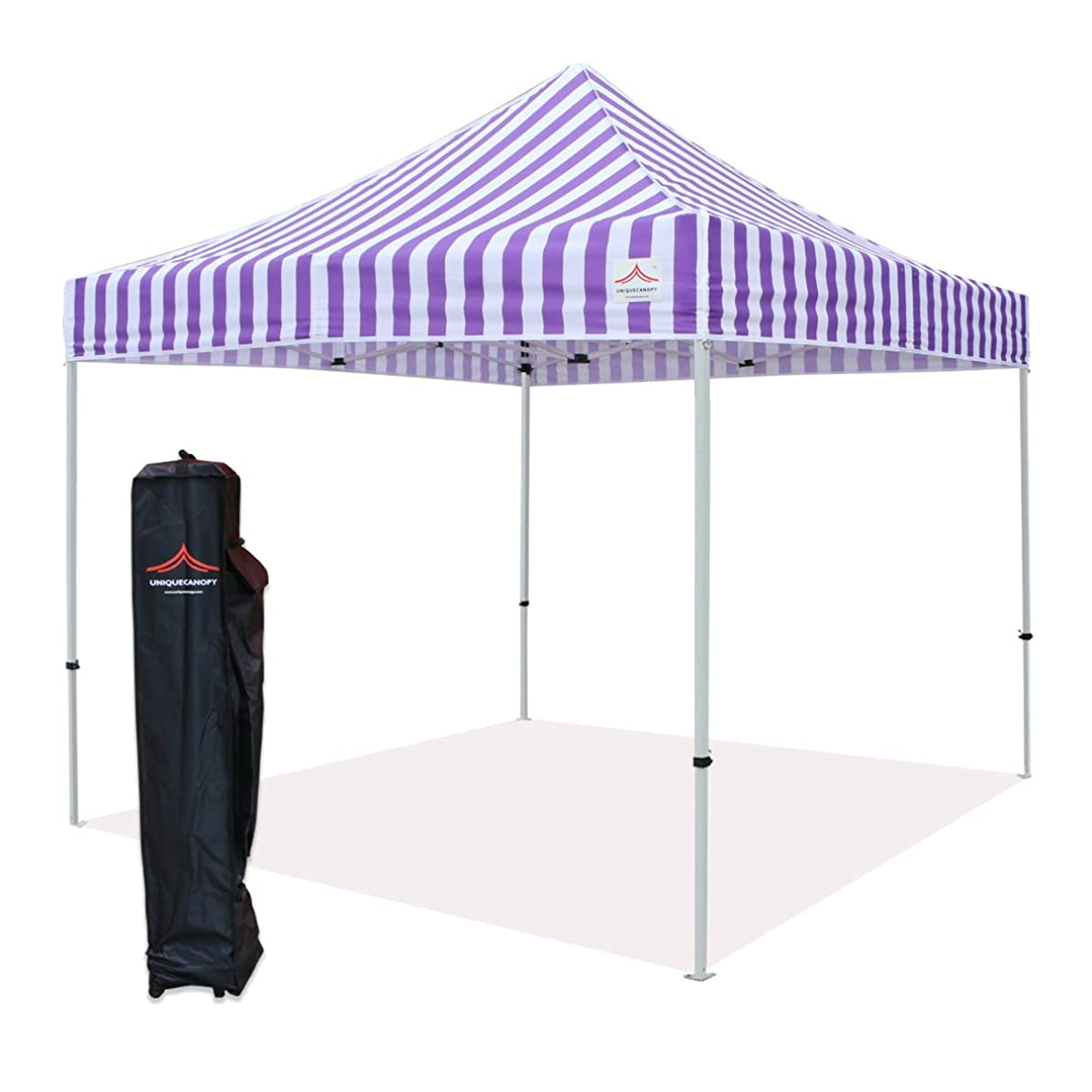 UNIQUECANOPY 10x10 Ez Pop up Canopy Tents for Parties Outdoor Portable Instant Folded Commercial Popup Shelter, with Wheeled Carrying Bag Purple White Strip