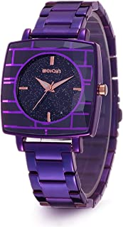 Fashion Women's Watch, Ladies Creative Purple Watch Gift,Rectangle Starry Sky Face Waterproof Quartz Watches for Women