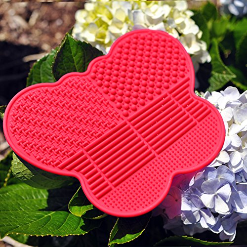 # 1 Silicone Makeup Brush Cleaning Mat Butterfly shape Scrubber  Portable Beauty Washing Tool to Extend the Use of Your Make up and Art Painting Brushes  Best Cleaner Pad  Red