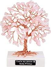 CrystalTears Personalized Mini Rose Quartz Healing Crystal Money Tree Handmade Copper Wire Wrapped Tumbled Gemstone Tree Feng Shui Ornaments for Good Luck Birthday Gift Home Decor 3.5