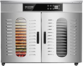 Food Dryer,Stainless Steel Body Adjustable Temperature 30 to 90 ° C and Timing Settings Dryer for Fresh and Dried Fruit 32...