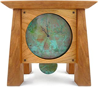 Modern Artisans Prairie Style Mantel/Shelf Clock with Copper Face and Pendulum, Handcrafted American Cherry Wood, 12