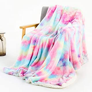 SUCSES Pink Rainbow Blanket for Bed Sofa, Tie-dye Long Shaggy Bed Cover Throw Blankets, 51x63 Inch