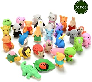 ThinkMax Cute Mini Puzzle Animal Pencil Eraser Toys Set for Kids - Pack of 30 Pieces