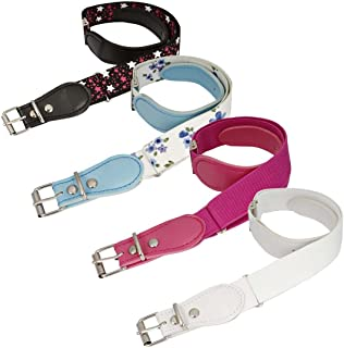 BMC Girls 4pc Assorted Color Adjustable Band Elastic با ست کمربند حلقه چرمی
