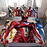 GEHIYPA POW-ER RANG-ERS Comfortable, Soft and Breathable 3 Piece Twin Bedding Set with, with Two Pillowcases and one Quilt Cover, Keep Warm Three-Piece Bed Comforter