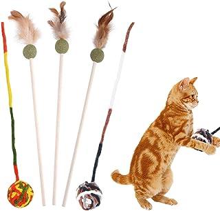 猫おもちゃ 猫じゃらし Fohil 猫ボール 毛糸 天然素材 キャットニップボール じゃれ猫 歯磨き 運動不足解消 ストレス解消 またたび 羽のおもちゃ 釣り竿 噛むおもちゃ 猫遊び おもちゃセット 5点セット