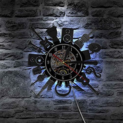 Rgzqrq Guitarra eléctrica acústica Arte de la Pared decoración Reloj de Pared...