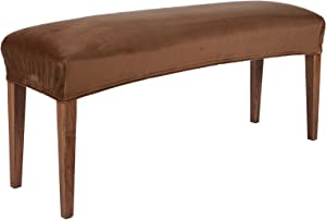 Colorxy Velvet Spandex Bench Covers for Dining Room, Stretch Bench Slipcover, Removable Washable Bench Protector for Living Room, Bedroom, Kitchen (Camel)