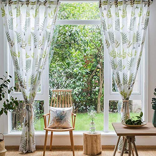 STACYPIK Sage Green Sheer Curtains 84 Inches Long -Tropical Leaf Pattern Linen Style White Summer Light Filtering Sun Blocking Privacy Living/Dining Room Curtains with Metallic Grommet,2 Panels,W