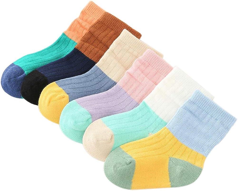 VWU Baby Girls Colorful Tube Socks 6 Pack
