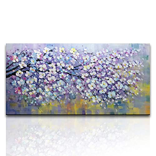 Asdam Art Flower Canvas Wall Art Oil Painting 3D Hand Painted Plum Blossom  Large Purple