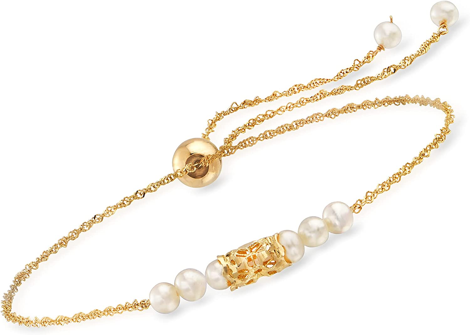 Ross-Simons NEW before selling 3-3.5mm Cultured Pearl Bolo Bracelet Yellow in 14kt Long Beach Mall