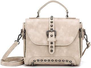 Shoulder Bag Women's Studded Retro Soft PU Leather Shoulder Crossbody Bag Handbag Clutch (Color : Beige)
