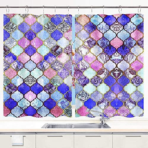 MIFSOIAVV Cortinas para Cocina Azulejos marroquíes Morado Real, Malva e índigo Cortinas de Ventana Ganchos de Metal Juego de 2 Paneles para decoración de café de casa 140x100CM