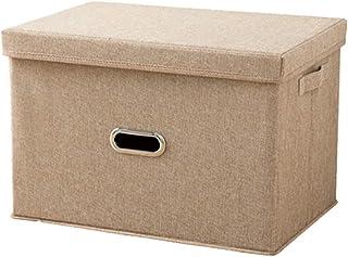 収納ケース 折りたたみ ふた付き 持ち手付き 底板付き 衣類収納 布団収納 収納ボックス 小物入れ おもちゃ収納 書類収納 衣類整理 雑貨収納 大容量 水洗い 防湿 耐用 (ベージュ, (M)37×26×27cm)