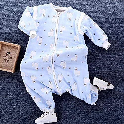 Unisex baby inbakerdekens, baby- en peuterslaapzak met 6 lagen katoenen gaas-blauw alpaca_kleding lengte 80, pasgeboren baby dikke warme slaapzak