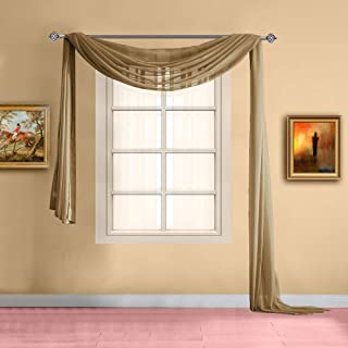 Warm Home Designs Standard Length Caramel Gold Sheer Window Scarf. Valance Scarves are 56 X 144 Inches in Size. Great As Window Treatments, Bed Canopy Or for Decorative Project. Color: Gold 144