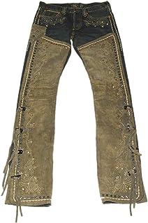 Ralph Lauren RRL Womens Western Equestrian Jeweled Denim Suede Jean Pants