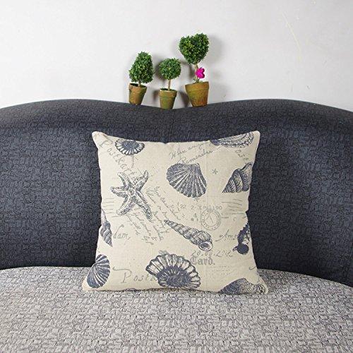 Luxbon Nautical Beach Themed Starfish Cushion Covers 18x18 Postcard Shell Conch Sofa Throw...