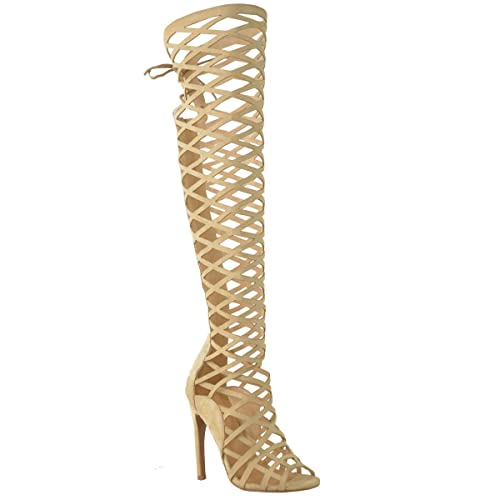 ba1bd2342dad Fashion Thirsty Womens Cut Out Lace Knee High Heel Boots Gladiator Sandals  Strappy Size
