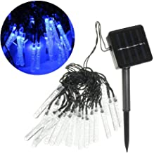Fourket 20 Led 3. 2M Solar Ice Piton Fairy String Light Lamp Wedding Xmas Party Decor Outdoor (Blauw)