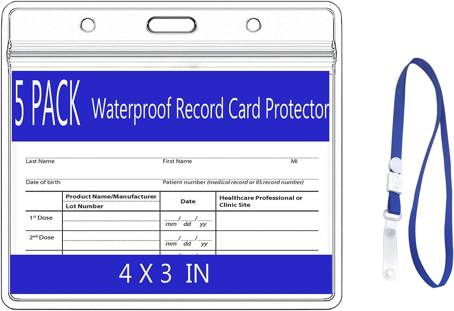 Wholesale Max 75% OFF 5 Pack CDC Card Protector 4×3 with Lanyard Clear inch Viny