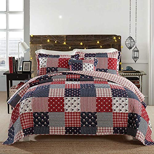 WYYAF Bedspreads Double Size Bed Throw 230 * 250Cm Patchwork Printable Washable Quilt, Cotton Decorative Bedding Set with 2 Pillowcases, 230 * 250cm